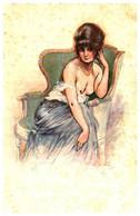 Illustrateur Maurice Millière, Anxiété Femme - Milliere