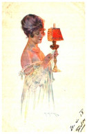 Illustrateur Maurice Millière, Effet De Lampe Femme - Milliere