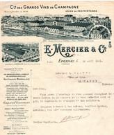 2 Factures CHAMPAGNE E.Mercier Epernay Gérard De Recondo Reims 1893  1921 - Champagne & Sparkling Wine