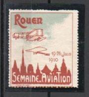 Vignette Aviation Rouen 1910 - Rouge-carmin Et Gris Vert - Erinofilia