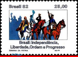 Ref. BR-1818 BRAZIL 1982 HISTORY, NATIONAL WEEK,, INDEPENDENCE, HORSES, MI# 1919, MNH 1V Sc# 1818 - Nuevos