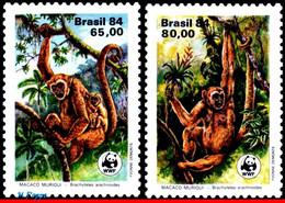Ref. BR-1926-27 BRAZIL 1984 ANIMALS, FAUNA, MONKEYS, PRESERVATION,, WWF, MI# 2052-2053, SET MNH 2V Sc# 1926-1927 - Nuevos