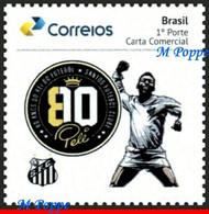 Ref. BR-V2020-51 BRAZIL 2020 - FOOTBALL SOCCER, 80TH BIRTHDAY OF PELE,, SANTOS, FAMOUS CLUB, MNH,1V - Andere