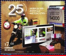 Ref. MX-2747 MEXICO 2011 POST, 25TH ANNIV.POSTAL SERVICE, , MOTORCYCLE, COMPUTER, MNH 1V Sc# 2747 - Mexico
