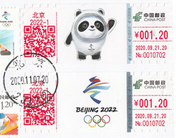 China 2020, 2x ATM And Stamp Set, 500 Day Countdown To The Opening, Postal Used Cover, Arrival Postmark On Back - Winter 2022: Peking
