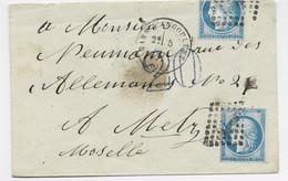N°60X2 +1 DECOUPE A L'OUVERTURE LETTRE GARE D' ANGOULEME 1871 POUR METZ MOSELLE TAXE 20DT BLEUE - 1849-1876: Classic Period