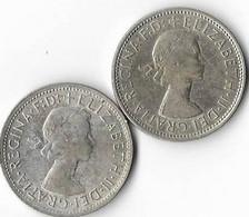 Australie 1 Florin Elisabeth II   Lot De 2 Monnaies 1957 M 1960 M Argent 0.500 TB - Florin