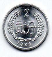 Chine -  2 Fen 1988 - UNC - China