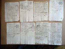 LOT DE 8 Manuscrits Cachet De Généralité De TOURS - Seals Of Generality