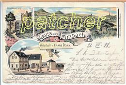 Litho Arzbach (Bad Ems, Westerwald) Wirtschaft V. Franz Dorn, Druck Um 1900, Gel. 1912 - Bad Ems