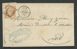 Nord , Lilles , N° 16 Oblitéré P C 1727 Cachet Type 15 Du 10 Mars 1862 - 1849-1876: Période Classique