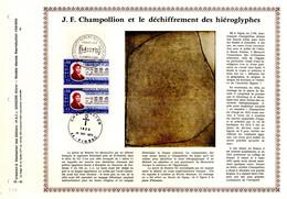 """RRR """" J.F. CHAMPOLLION ET LES HIEROGLYPHES """" Sur Feuillet PAC N°té RARE (1500 Ex) De 1972 N°YT 1734 Parf état RRR - Egyptology"""