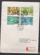 Hungary 1978 Ships, Columbus, Cook, Drake Etc. Set Of 2 S/s On 2 Registered Covers To Germany - Ships