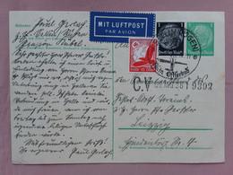 GERMANIA III REICH - Cartolina Postale Con Francobolli Aggiunti + Spese Postali - Lettres & Documents