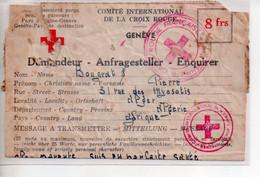 REF PHOR3a : Lettre Croix Rouge Genève 1944 Famille Bougrat - Cartas