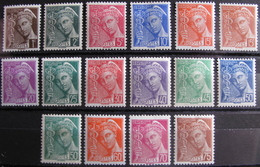 Lot DKT/C49 - 1938 - TYPE MERCURE (SERIE COMPLETE) N°404 à 416A NEUFS* - Cote : 11,00 € - Nuovi