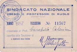Tessera Sindacato Nazionale Presidi E Professori Di Ruolo - 1957 - Historical Documents