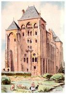 CPA LE MANS , Illustrateur BARRE DAYEZ , L'abbaye Saint-pierre De Solesmes 2177 D - Barday