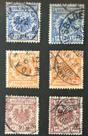 1880  Reichsadler BPP-geprüft Mi. 48a, 48d, 49a, 49b, 50ba, 50d - Used Stamps