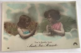 Nouvel An 1907 Pour La Nouvelle Annee  2 Petites Filles Aux Ailes D Ange Vous Souhaitent Sante Foie Reussite - Anno Nuovo