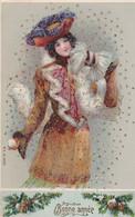 FANTAISIE FEMME - CPA GAUFREE - BONNE ANNEE-   BOULE DE NEIGE                        (lot Pat 134/2) - 1900-1949