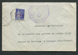 87 Haute-Vienne Saint Sulpice Les Feuilles Lettre De La Brigade De Gendarmerie En 1939 Avec Timbre Paix F.M Cachet - 1921-1960: Moderne