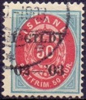 IJSLAND 1902 Opdruk I GILDI Zwart Op 50aur Ovaal Perf 12¾ GB-USED - Gebraucht