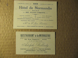 """2 CARTES PUB - HÔTEL DE NORMANDIE à NICE  - RESTAURANT """"A LA MENAGERE"""" à NICE ADOLPHE BELLEUDY - Visitekaartjes"""