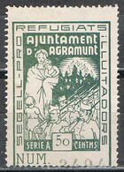 Sello Viñeta AGRAMUNT (Lerida) 50 Cts Verde, Pro Refugiats, Guerra Civil ** - Viñetas De La Guerra Civil