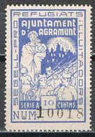 Sello Viñeta AGRAMUNT (Lerida) 10 Cts Azul Claro, Pro Refugiats, Guerra Civil ** - Viñetas De La Guerra Civil