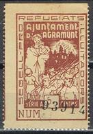 Sello Viñeta AGRAMUNT (Lerida) 5 Cts Castaño Ocre, Pro Refugiats, Guerra Civil * - Viñetas De La Guerra Civil
