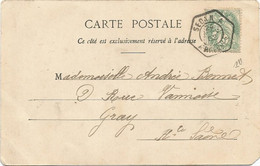 BLANC 5C CACHET HEX SEDAN A 24 NOV 1902 ARDENNES CARTE FANTAISIE - Handstempel