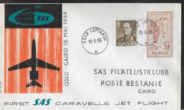 NORGE - PRIMO VOLO - FIRST FLIGHT SAS CARAVELLE - OSLO/CAIRO - 15.5.1959 - SU BUSTA UFFICIALE - Brieven En Documenten