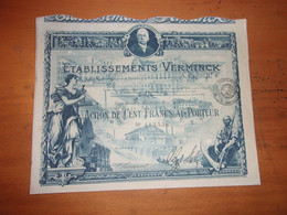 VERMINCK  (actions De 100 Francs) 1920 - Ohne Zuordnung