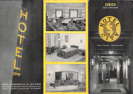 """09368 """"HOTEL CITY - ZURICH SUISSE / SWITZERLAND"""" PIEGHEVOLE ORIG. - Folletos Turísticos"""