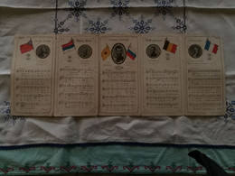 WW1: Angleterre, Serbie, Russie, Allemagne, France, Hymnes Paroles Et Musique - Historische Dokumente