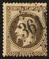 YT 30 (°) 1863-70 LGC 3614 St-Geniez Aveyron 30c Brun Napoléon III Empire Franc Lauré (côte 20 + 3 Euros) – Fobleu - 1863-1870 Napoleon III With Laurels