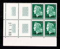 REUNION  CFA  Bloc De 4 Coin Daté  21.1.69 Marianne CHEFFER Gravée ** MNH TTB 2 Scan - Altri