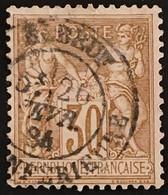 YT 80 (°) Obl SAGE CaD Elboeuf / Elbeuf Seine-Inférieure 26.02.1884 30c Brun (type II Inv Sous U) – B2otti - 1876-1898 Sage (Type II)
