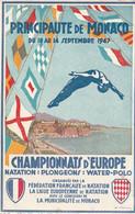 MONACO  Carte Publicitaire Championnat D'Europe Natation Plongeons Water-polo Circulée Timbrée - Unclassified