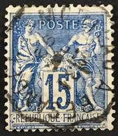 YT 101 1892 SAGE Convoyeur Morteau à Besançon 15c Bleu Papier Quadrillé – B2otti - 1876-1898 Sage (Tipo II)