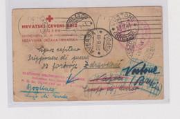 CROATIA WW II ZAGREB 1941 RED CROSS Stationery To ITALY - Croatia