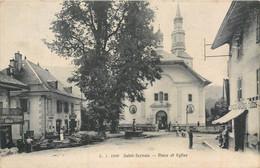 CPA 74 Haute Savoie Saint Gervais Les Bains Place Et Eglise Epicerie Mercerie - Saint-Gervais-les-Bains