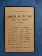 FAIRE PART DECES POILU  MILITAIRE WWI CHAVIGNOL Mort Pour La France  GUERRE 14/18 BOULAY PINARD MARECHAL LESIMPLE - Documenti