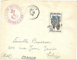 ALGERIE // POSTE NAVALE. SERVICE A LA MER - ARZEW Pour Trélazé. 1958. Timbre Annulé Par ANGERS RP - Covers & Documents