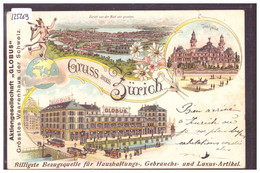 "GRUSS AUS ZÜRICH - PUBLICITE AKTIENGESELLSCHAFT "" GLOBUS "" - LITHO - B ( PLI D'ANGLE ) - ZH Zurich"