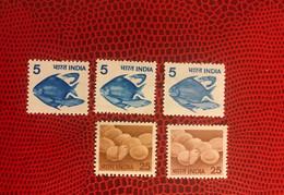 INDE 1979 5v Neuf Mi 792 793 Avec 2 Variétés Plus Claires Pesce Poisson Fish Pez Fische   India - Peces