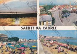 CARTOLINA SALUTI DA CAORLE, VENEZIA, VENETO,SPIAGGIA, MARE, SOLE, VACANZA, ESTATE, BARCHE A VELA  VIAGGIATA 1965 - Venezia (Venice)