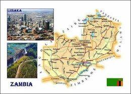 Zambia Country Map New Postcard - Landkaarten