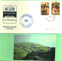 MS ASTOR HADAG CRUISE SHIP COVER TRISTAN DA CUNHA 14-1-84 & TRISTAN POSTCARD - RARE COMBO - Tristan Da Cunha